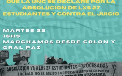 ¡SE AVANZA CON EL JUICIO A LES 27 ESTUDIANTES DE LA UNC! ¡BASTA DE PERSEGUIR LUCHADORES!
